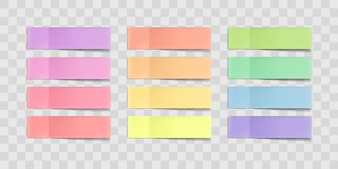 Colorful sticky notes, post stickers with shadows isolated on a transparent background