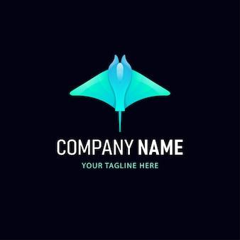 Красочный дизайн логотипа ската. логотип градиент стиль животные
