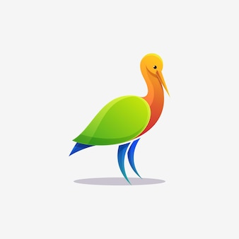 Colorful stork logo illustration vector template