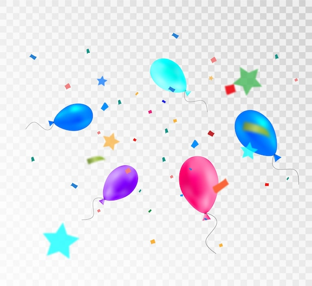 Colorful streamer with balloons template for congratulations