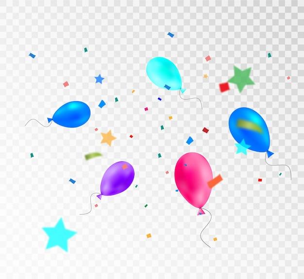 축하를 위한 풍선 템플릿이 있는 다채로운 깃발