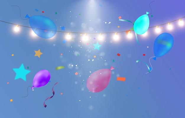 Красочная растяжка с воздушными шарами шаблон для поздравления