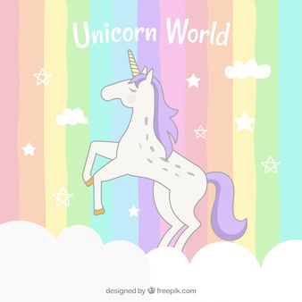 Colorful striped background with unicorn