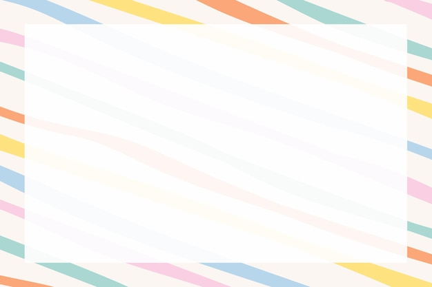 귀여운 파스텔 패턴의 다채로운 스트라이프 프레임 벡터