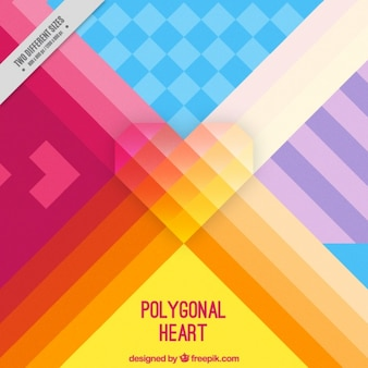 Colorful striped geometric background with heart