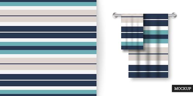 カラフルなストライプのシームレスパターンとタオル