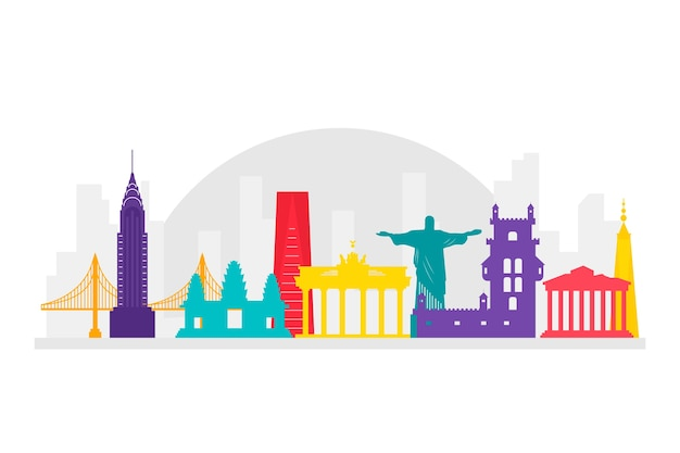 Stile colorato per edifici famosi in tutto il mondo