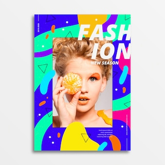 Colorful style fashion poster with photo