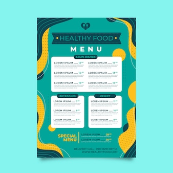 Colorful style restaurant menu