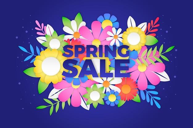 Colorful style spring sale in paper style