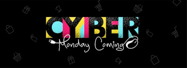 Colorful stylish text cyber monday coming with wired mouse illustration.