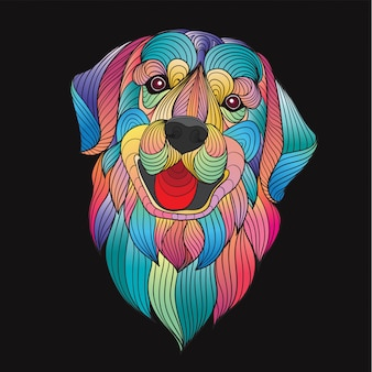 Colorful stylized golden retriever dog head