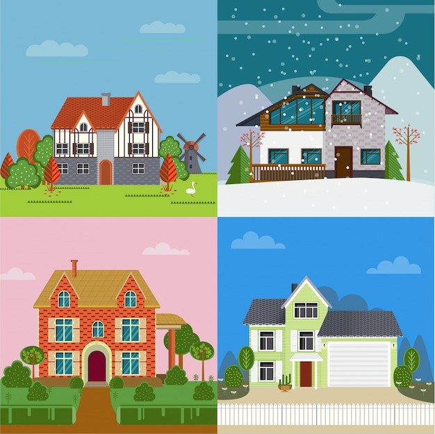Colorful suburban cottages flat concept