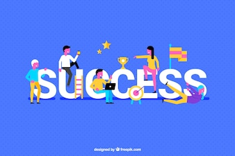 Colorful sucess background with people