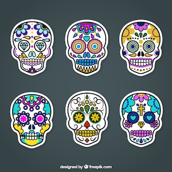 Colorful sugar skull labels