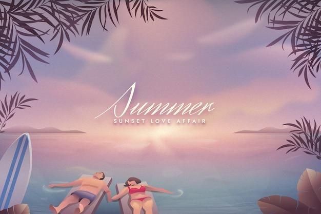 화려한 여름 배경 개념