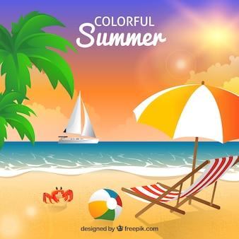 해변으로 화려한 여름 배경