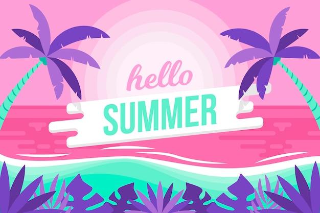 Красочный летний фон с пляжем