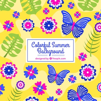 Colorful summer background with butterflies and flowers
