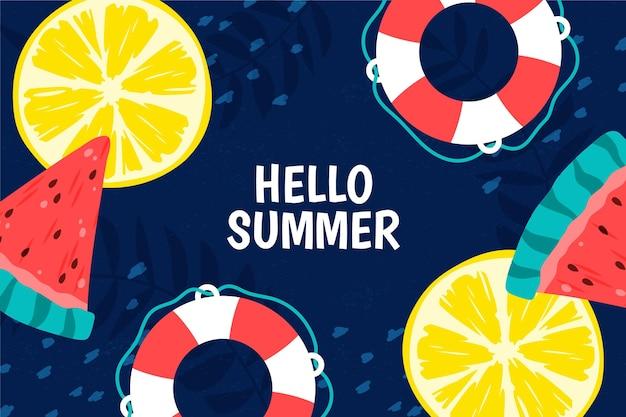Красочный летний фон с цитрусовыми и арбузом