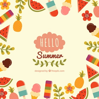 Colorful summer background with elements on borders