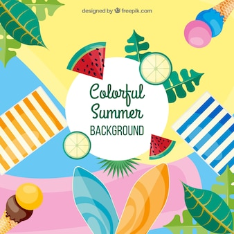 Colorful summer background with flat design