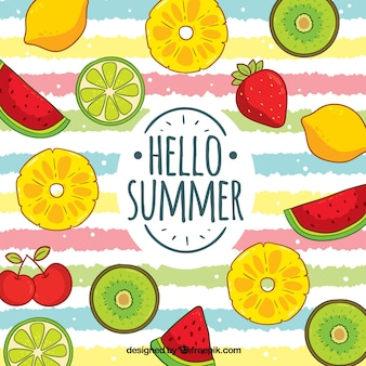Colorful summer background with fruits pattern