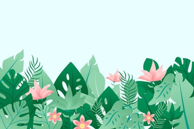 葉と花とカラフルな夏の背景