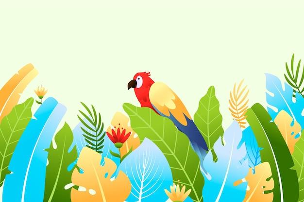 잎과 앵무새와 화려한 여름 배경