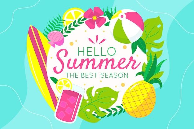 Красочный летний фон с листьями и ананасом
