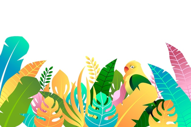 Colorful summer background with leaves and bird