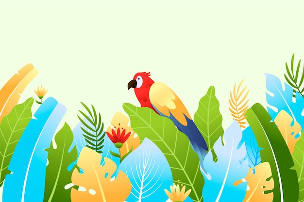 Colorful summer background with leaves and parrot