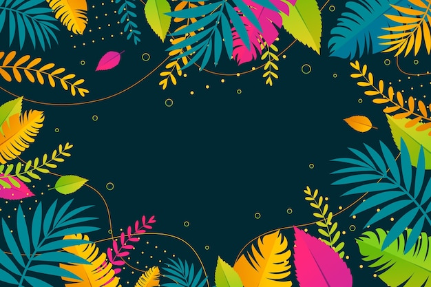 Colorful summer background with leaves