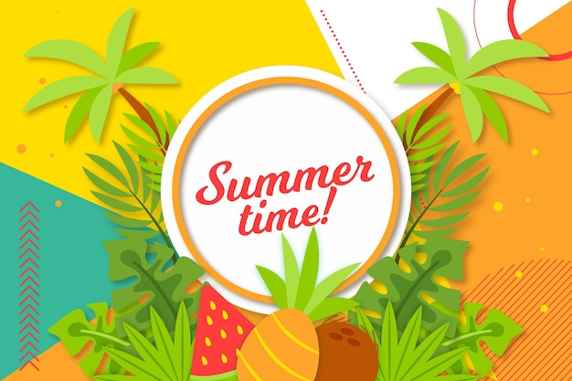 Colorful summer background with palm trees