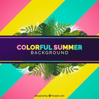 Sfondo colorato estate con foglie tropicali