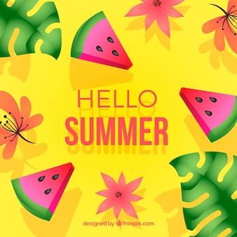 Colorful summer background with watermelon