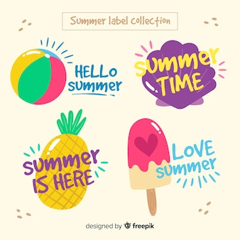 Colorful summer badge collection