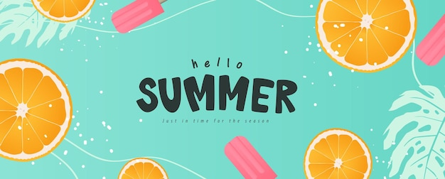 Красочный дизайн баннера летом.