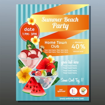 Colorful summer beach party poster with refreshment vector illustration