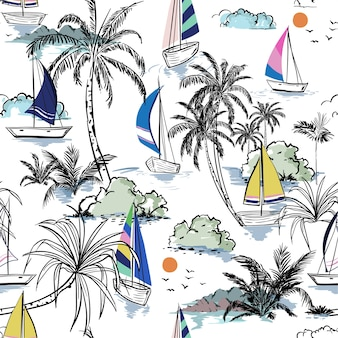 Colorful summer beach seamless pattern island with boat
