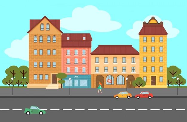 Colorful summer city landscape flat concept