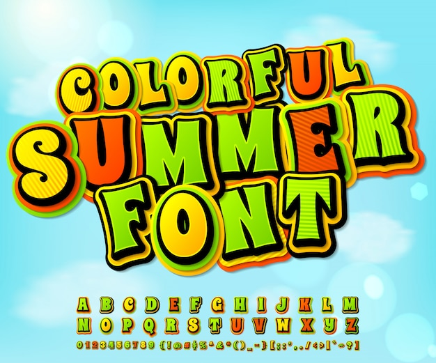 Colorful summer comic font. comics, pop art style