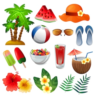 Colorful summer element set mixed vector illustration