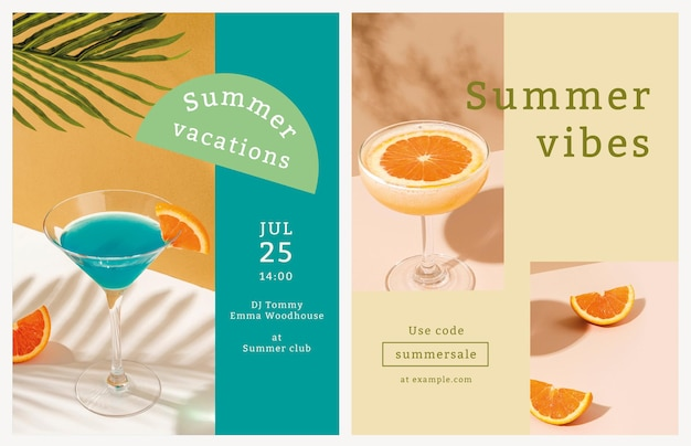 Colorful summer flyer template tropical background
