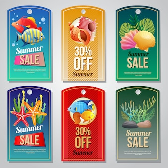 Colorful summer holiday banner template set vector illustration