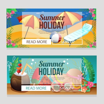 Colorful summer holiday banner template with beach relax umbrella