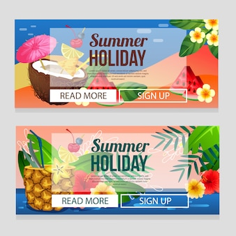 Colorful summer holiday banner template with cocktail drink theme vector illustration