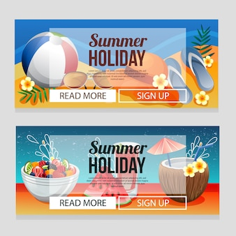 Colorful summer holiday banner template with summer drink vector illustration