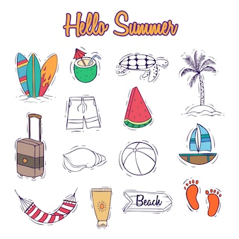 Colorful summer icons collection with doodle or hand drawn style