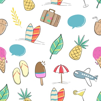 Colorful summer icons in seamless pattern with doodle style